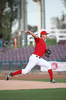 Alex Klonowski (19) of the Inland Empire 66ers pitches against the Modesto Nuts at San Manuel Stadium on May 20, 2016 in San Bernardino, California. Inland Empire defeated Modesto, 4-2. (Larry Goren/Four Seam Images)