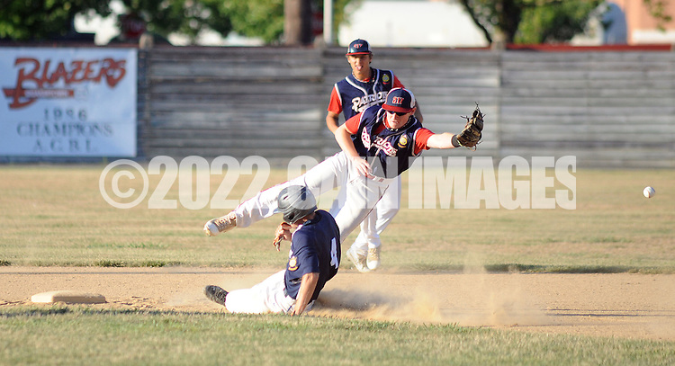 Quakertown's Matthew Bukavitch #4 makes it safely to second base after the ball passes by Oley/Topton Post 217's Bryson Turner in the first inning of the Region 2 American Legion Playoffs Sunday July 17, 2016 at Quakertown Memorial Park in Quakertown, Pennsylvania. Quakertown defeated Oley/Topton Post 217 12-0. (Photo by William Thomas Cain)