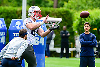 June 7, 2017: New England Patriots tight end Matt Lengel (82) catches the ball  at the New England Patriots mini camp held on the practice field at Gillette Stadium, in Foxborough, Massachusetts. Eric Canha/CSM