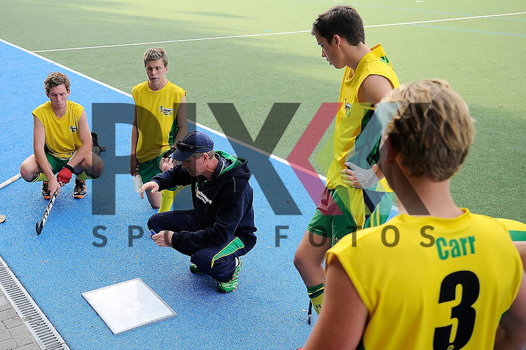 GER - Mannheim, Germany, May 20: During the U16 Boys test match between Germany (black) and Australia (yellow) on May 20, 2015 at Mannheimer HC in Mannheim, Germany. Final score 0-1. <br /> <br /> Foto &copy; P-I-X.org *** Foto ist honorarpflichtig! *** Auf Anfrage in hoeherer Qualitaet/Aufloesung. Belegexemplar erbeten. Veroeffentlichung ausschliesslich fuer journalistisch-publizistische Zwecke. For editorial use only.