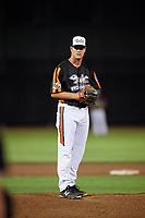 Aberdeen IronBirds relief pitcher Zach Matson (55) gets ready to deliver a pitch during a game against the Staten Island Yankees on August 23, 2018 at Leidos Field at Ripken Stadium in Aberdeen, Maryland.  Aberdeen defeated Staten Island 6-2.  (Mike Janes/Four Seam Images)