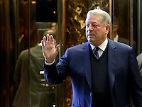 Former United States Vice President Al Gore speaks to the media after he exits the elevators at Trump Tower on December 5, 2016 in New York City. U.S. President-elect Donald Trump is still holding meetings upstairs at Trump Tower as he continues to fill in key positions in his new administration. Photo Credit: John Angelillo/CNP/AdMedia