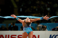 "Evgenia Kanaeva of Russia releases with ribbon during seniors event finals at 2007 World Cup Kiev, ""Deriugina Cup"" in Kiev, Ukraine on March 18, 2007."