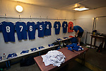 The home team goalkeeper getting his kit ready in the changing room before Nelson hosted Daisy Hill in a North West Counties League first division north fixture at Victoria Park. Founded in 1881, the home club were members of the Football League from 1921-31 and has played at their current ground, known as Little Wembley, since 1971. The visitors won this fixture 6-3, watched by an attendance of 78.
