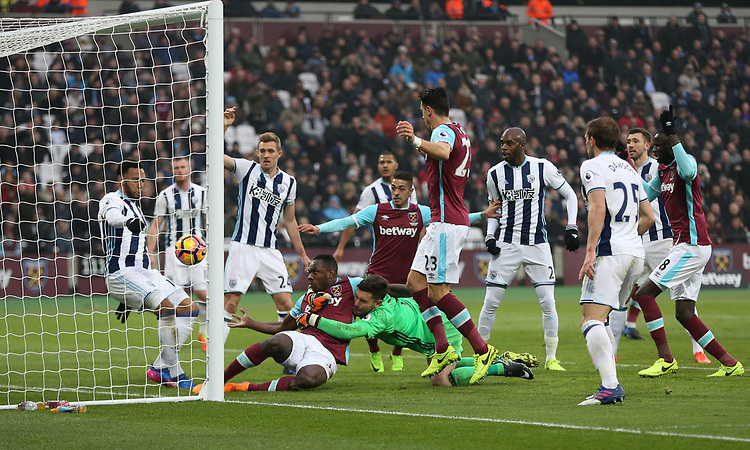 West Ham United's Michail Antonio sees his effort cleared off the line by West Bromwich Albion's Matt Phillips<br /> <br /> Photographer Rob Newell/CameraSport<br /> <br /> The Premier League - West Ham United v West Bromwich Albion - Saturday 11th February 2017 - London Stadium - London<br /> <br /> World Copyright &copy; 2017 CameraSport. All rights reserved. 43 Linden Ave. Countesthorpe. Leicester. England. LE8 5PG - Tel: +44 (0) 116 277 4147 - admin@camerasport.com - www.camerasport.com