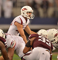 STAFF PHOTO BEN GOFF  @NWABenGoff -- 09/27/14  Arkansas kicker John Henson calls for a timeout before attempting a field goal late in the fourth quarter of the Southwest Classic in AT&T Stadium in Arlington, Texas on Saturday September 27, 2014.