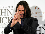 """Actor Keanu Reeves poses of the ninja during a stage greeting for the movie """"John Wick: Chapter 3 - Parabellum"""" in Tokyo, Japan, September 10, 2019. The movie will be released in Japan on October 4. JIJI PRESS PHOTO / MORIO TAGA"""