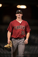 AZL Diamondbacks relief pitcher Harrison Francis (38) walks off the field between innings of an Arizona League game against the AZL Cubs 1 at Sloan Park on June 18, 2018 in Mesa, Arizona. AZL Diamondbacks defeated AZL Cubs 1 7-0. (Zachary Lucy/Four Seam Images)