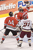 Steve Birnstill, Adam Geragosian, Benn Ferreiro - The Boston College Eagles defeated the Northeastern University Huskies 5-2 in the opening game of the 2006 Beanpot at TD Banknorth Garden in Boston, MA, on February 6, 2006.