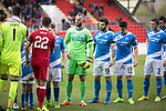 St Johnstone v Aberdeen&hellip;15.04.17     SPFL    McDiarmid Park<br />The saints players wear balck armbands in memory of long serving tea lady Aggie Moffat<br />Picture by Graeme Hart.<br />Copyright Perthshire Picture Agency<br />Tel: 01738 623350  Mobile: 07990 594431