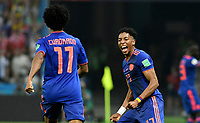 KAZAN - RUSIA, 24-06-2018: Johan MOJICA celebra el gol de Juan CUADRADO (#11) jugador de Colombia anotado a Polonia durante partido de la primera fase, Grupo H, por la Copa Mundial de la FIFA Rusia 2018 jugado en el estadio Kazan Arena en Kazán, Rusia. /  Johan MOJICA celebrates the goal of Juan CUADRADO (#11) player of Colombia scored to Polonia during match of the first phase, Group H, for the FIFA World Cup Russia 2018 played at Kazan Arena stadium in Kazan, Russia. Photo: VizzorImage / Julian Medina / Cont