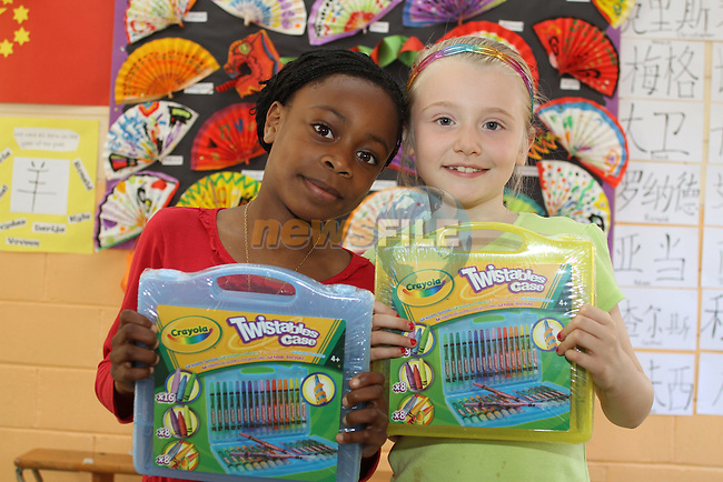 Prize Winners, Jessica Odia and Brook Dunphy at St Johns NS Intercultural and Anti-Rascism Art Competition Presentation...(Photo credit should read Jenny Matthews www.newsfile.ie)....This Picture has been sent you under the conditions enclosed by:.Newsfile Ltd..The Studio,.Millmount Abbey,.Drogheda,.Co Meath..Ireland..Tel: +353(0)41-9871240.Fax: +353(0)41-9871260.GSM: +353(0)86-2500958.email: pictures@newsfile.ie.www.newsfile.ie.