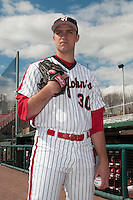 St. John's University Redstorm pitcher Sean Hagan (30) during game 1 of a double header against the University of Cincinnati Bearcats at Jack Kaiser Stadium on March 28, 2013 Queens, New York.  St. John's defeated Cincinnati 6-5 in game 1.                                                                      (Tomasso DeRosa/ Four Seam Images)