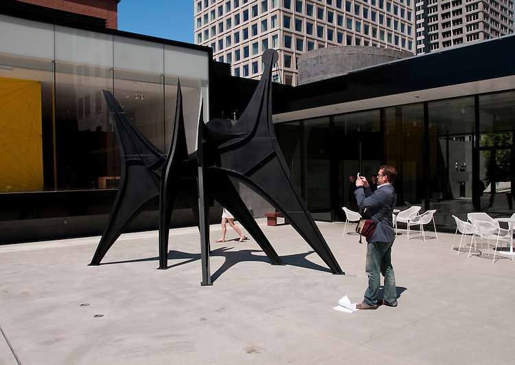 San Francisco Museum of Modern Art, SFMOMA, Rooftop Garden with Alexander Calder sculpture titled Man.  Photo copyright Lee Foster.  Photo # casanf103958