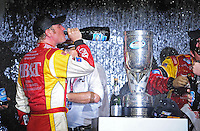 Nov. 15, 2008; Homestead, FL, USA; NASCAR Nationwide Series driver Clint Bowyer celebrates after winning the 2008 championship following the Ford 300 at Homestead Miami Speedway. Mandatory Credit: Mark J. Rebilas-