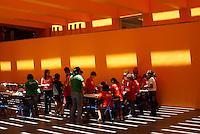 School children in the Museo del Laberinto designed by Ricardo Legoretta, Parque Tangamanga, San Luis de Potosi, Mexico