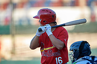 Palm Beach Cardinals Yariel Gonzalez (16) at bat during a Florida State League game against the Lakeland Flying Tigers on May 22, 2019 at Publix Field at Joker Marchant Stadium in Lakeland, Florida.  Palm Beach defeated Lakeland 8-1.  (Mike Janes/Four Seam Images)