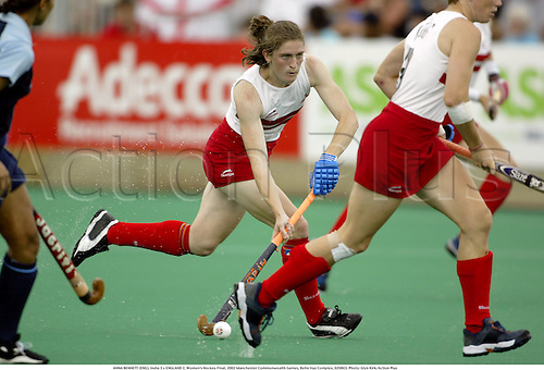ANNA BENNETT (ENG), India 3 v ENGLAND 2, Women's Hockey Final, 2002 Manchester Commonwealth Games, Belle Vue Complex, 020803. Photo: Glyn Kirk/Action Plus...ball .field.woman.female