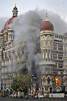 The Taj Mahal hotel burn during the final gun battle between the Indian commandos and  militants inside the hotel in the early hours of 29th of November 2008 in Mumbai, India.