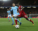 Sadio Mane of Liverpool crosses the ball during the Champions League Quarter Final 1st Leg, match at Anfield Stadium, Liverpool. Picture date: 4th April 2018. Picture credit should read: Simon Bellis/Sportimage