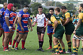 Referee Brandon Roberts brings the two forward packs together at scrum time. Counties Manukau Premier Counties Power Game of the Week Club Rugby Round 4 game between Pukekohe and Ardmore Marist, played at Colin Lawrie Fields Pukekohe on Friday March 30th 2018.<br /> Ardmore Marist won the game 27 - 21 after leading 13 - 11 at halftime.<br /> Pukekohe Mitre 10 Mega 21 -Trent White, Samu Pailegutu tries, Sione Fifita conversion, Sione Fifita 2, Vilitati Sabani penalties. Ardmore Marist South Auckland Motors 27 - Katetistoti Nginingini, Karl Ropati, Alefosio Tapili tries, Latiume Fosita 3 conversions, Latiume Fosita 2 penalties. <br /> Photo by Richard Spranger.