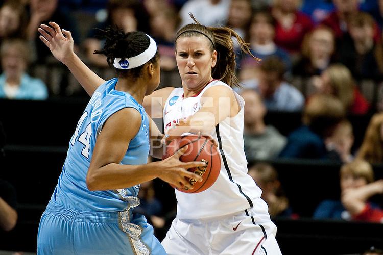 SPOKANE, WA - MARCH 26, 2011: Jeanette Pohlen of Stanford Women's Basketball vs University of North Carolina, NCAA West Regionals on March 26, 2011.