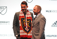 Philadelphia, PA - Thursday January 19, 2018: Ricky Lopez-Espin, J. Todd Durbin during the 2018 MLS SuperDraft at the Pennsylvania Convention Center.