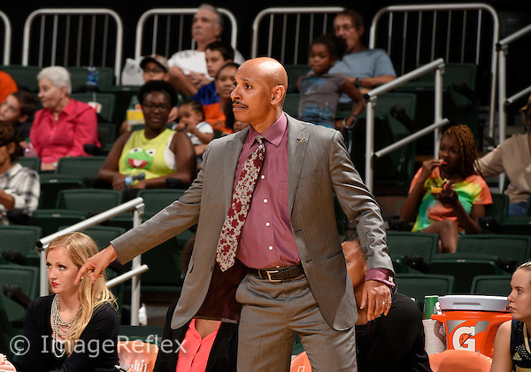 22 December 2015: Florida International University Head Coach Marlin Chinn during the game against the University of Miami in Miami's 83-55 victory at BankUnited Center, Coral Gables, Florida.