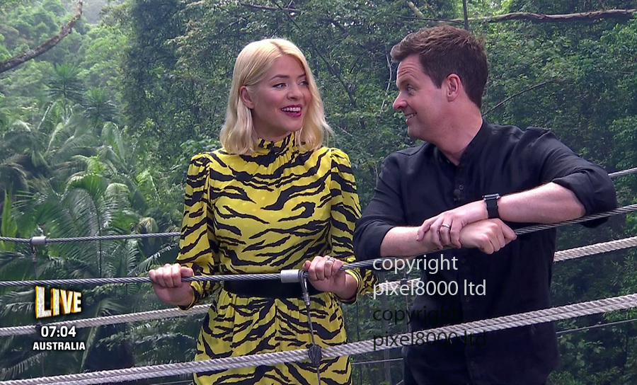 Pic shows: I'm a Celebrity final 2018<br /> Declan Donnelly presents with Holly Willoughby in a yellow animal print<br /> <br /> <br /> <br /> <br /> <br /> supplied by Pixel8000 Ltd