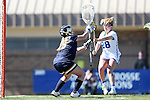 DURHAM, NC - FEBRUARY 26: Notre Dame's Samantha Giacolone (23) makes a save against Duke's Hayley Shaffer (28). The Duke University Blue Devils hosted the University of Notre Dame Fighting Irish on February, 26, 2017, at Koskinen Stadium in Durham, NC in a Division I College Women's Lacrosse match. Notre Dame won the game 12-11.