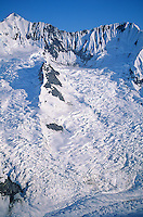 Glaciers flowing down mountainsides in the Fairweather Mountains , Glacier Bay National Park, Alaska, AGPix_0036.
