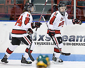 Stephanie Gavronsky (Northeastern - 44), Kendall Coyne (Northeastern - 77) - The Northeastern University Huskies defeated the visiting Clarkson University Golden Knights 5-2 on Thursday, January 5, 2012, at Matthews Arena in Boston, Massachusetts.