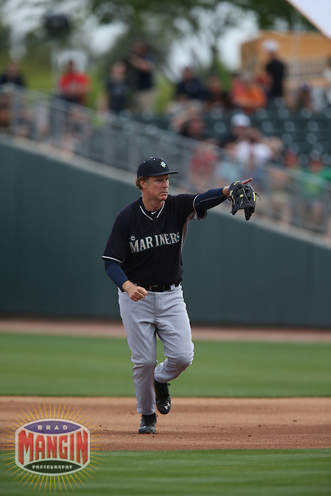 MESA, AZ - MARCH 12:  Actor Will Ferrell of the Seattle Mariners plays second base against the Oakland Athletics during a spring training game at HoHoKam Stadium on March 12, 2015 in Mesa, Arizona. (Photo by Brad Mangin)