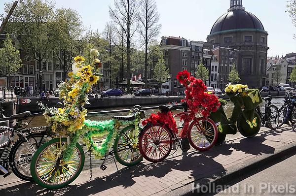 Nederland - Amsterdam - 2019.  Fietsen van de Flowerbikeman. Foto Berlinda van Dam Hollandse Hoogte