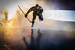 Stockholm 2014-03-21 Ishockey Kvalserien AIK - R&ouml;gle BK :  <br /> AIK:s Brett Carson g&ouml;r entr&eacute; p&aring; Hovet inf&ouml;r matchen mot R&ouml;gle<br /> (Foto: Kenta J&ouml;nsson) Nyckelord:  portr&auml;tt portrait intro