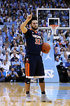 18 February 2017: Virginia's London Perrantes. The University of North Carolina Tar Heels hosted the University of Virginia Cavaliers at the Dean E. Smith Center in Chapel Hill, North Carolina in a 2016-17 Division I Men's Basketball game. UNC won the game 65-41.