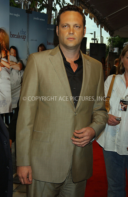 WWW.ACEPIXS.COM . . . . . ....May 29 2006, Chicago....Jennifer Aniston and her co star and boyfriend Vince Vaughn attended the Chicago premiere of 'The Break Up' at the Music Box Theatre. Aniston's ex husband Brad Pitt has just anounced the birth of a daughter with girlfriend Angelina Jolie. in Namibia.....Please byline: KRISTIN CALLAHAN - ACEPIXS.COM.. . . . . . ..Ace Pictures, Inc:  ..(212) 243-8787 or (646) 679 0430..e-mail: picturedesk@acepixs.com..web: http://www.acepixs.com