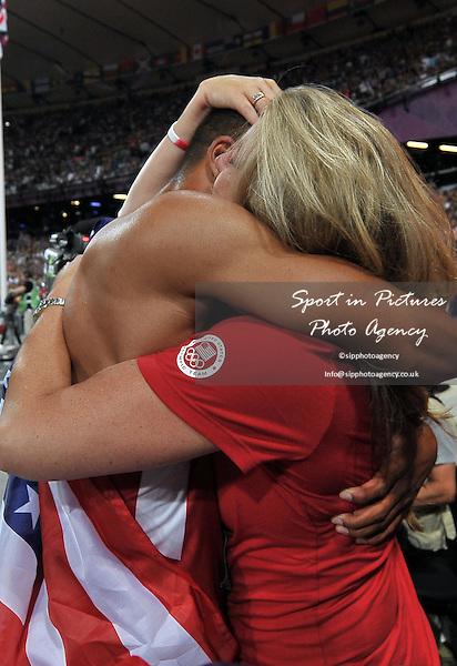 USA's Ashton Eaton celebrates with his mum. Athletics - PHOTO: Mandatory by-line: Garry Bowden/SIP/Pinnacle - Photo Agency UK Tel: +44(0)1363 881025 - Mobile:0797 1270 681 - VAT Reg No: 768 6958 48 - 09/08/2012 - 2012 Olympics - Olympic Stadium, Olympic Park, London, England.
