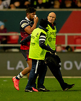 Bristol Bears' Charles Piutau leaves the field with a facial injury<br /> <br /> Photographer Bob Bradford/CameraSport<br /> <br /> Gallagher Premiership Round 7 - Bristol Bears v Exeter Chiefs - Sunday 18th November 2018 - Ashton Gate - Bristol<br /> <br /> World Copyright &copy; 2018 CameraSport. All rights reserved. 43 Linden Ave. Countesthorpe. Leicester. England. LE8 5PG - Tel: +44 (0) 116 277 4147 - admin@camerasport.com - www.camerasport.com