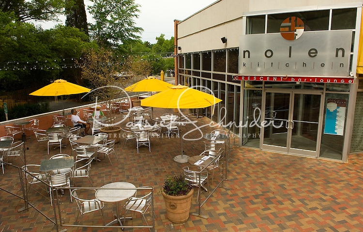 The Nolan Kitchen restaurant in the Myers Park neighborhood in Charlotte, NC. Myers Park is one of the premier neighborhoods in North America and known for its large canopy of trees.