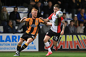 3rd October 2017, The Abbey Stadium, Cambridge, England; Football League Trophy Group stage, Cambridge United versus Southampton U21; Liam O'Neil of Cambridge United battles with Callum Slattery of Southampton