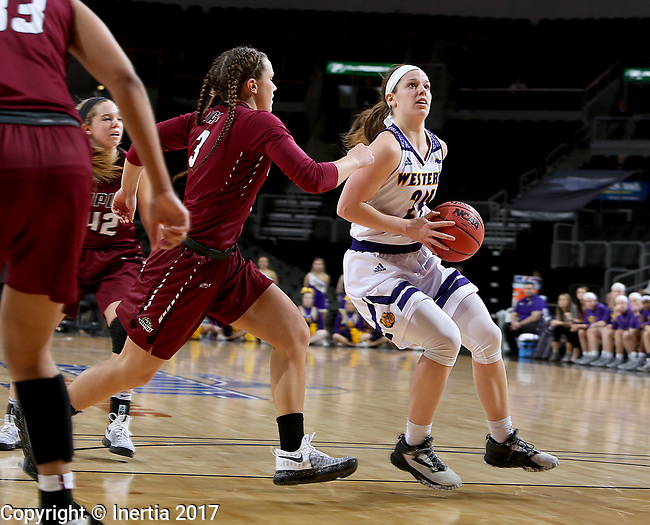 SIOUX FALLS, SD: MARCH 7: Taylor Higginbotham #24 from Western Illinois spots up for a jumper against Kelsi Byrd #3 from IUPUI during the Women's Summit League Basketball Championship Game on March 7, 2017 at the Denny Sanford Premier Center in Sioux Falls, SD. (Photo by Dave Eggen/Inertia)
