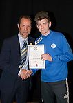 St Johnstone FC Academy Awards Night...06.04.15  Perth Concert Hall<br /> Alec Cleland presents a certificate to Declan Boyle<br /> Picture by Graeme Hart.<br /> Copyright Perthshire Picture Agency<br /> Tel: 01738 623350  Mobile: 07990 594431