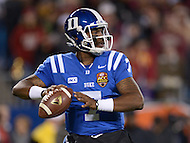 December 7, 2013  (Charlotte, North Carolina)  Duke Blue Devils quarterback Anthony Boone #7 throws a pass during the 2013 ACC Championship game against the Florida State Seminoles.  (Photo by Don Baxter/Media Images International)