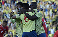 BOGOTA - COLOMBIA, 03-06-2019: Jugadores de Colombia celebran después de anotar el primer gol durante partido amistoso entre Colombia y Panamá jugado en el estadio El Campín en Bogotá, Colombia. / Players of Colombia celebrate after scoring the first goal during a friendly match between Colombia and Panama played at Estadio El Campin in Bogota, Colombia. Photo: VizzorImage/ Gabriel Aponte / Staff