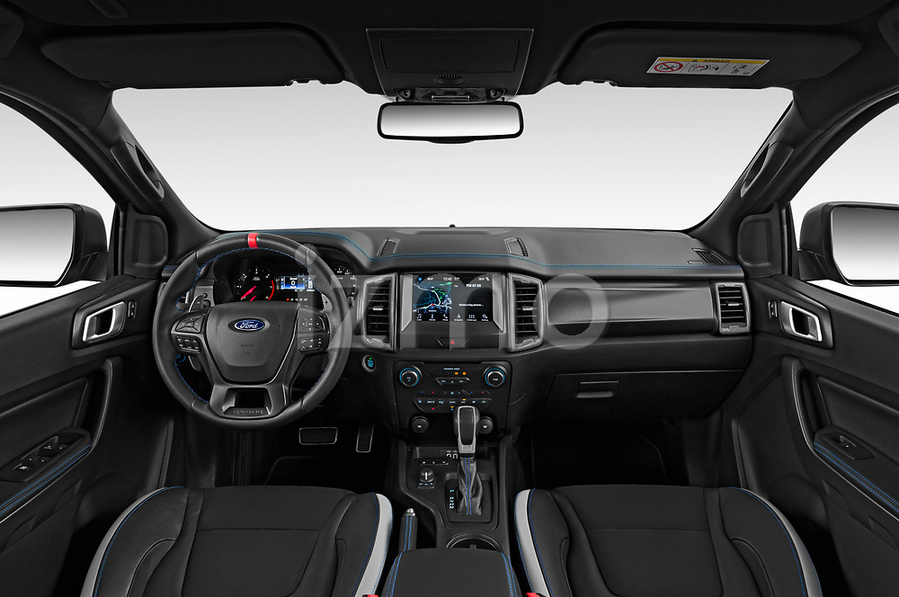 Stock photo of straight dashboard view of 2019 Ford Ranger-Raptor - 4 Door Pick-up Dashboard