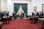 Palestinian President Mahmoud Abbas, meets with Russian envoy to the peace process in the Middle East, in the West Bank city of Ramallah on February 4, 2020. Photo by Thaer Ganaim
