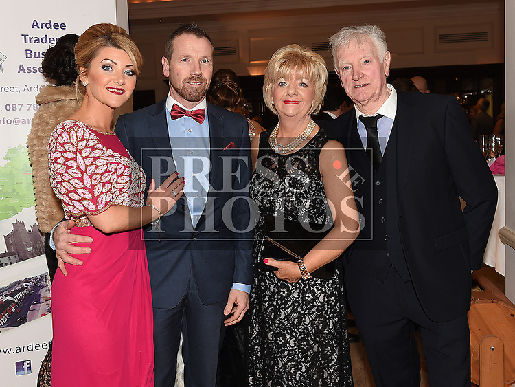 Pat and Deirdre Callan and John and Mary Hickey pictured at the Ardee Traders annual awards night in the Nuremore Hotel. Photo:Colin Bell/pressphotos.ie