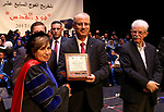 Palestinian Prime Minister, Rami Hamdallah, attends the graduation ceremony of the 17th group of students of the Faculty of Ibn Sina for Health Sciences, in the West Bank city of Ramallah, on October 18, 2017. Photo by Prime Minister Office