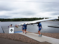 Glasgow, Scotland, Saturday, 4th  August 2018, Russian Federation, RUS W4X, Women's Quadruple Scull, carried onto the, boating pontoon, at the European Games, Rowing, Strathclyde Park, North Lanarkshire, © Peter SPURRIER/Alamy Live News